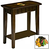 NEW! Chairside Table in an Espresso Medium Brown Finish Featuring the Choice of Your Favorite Sports Team Logo! (Blackhawks)