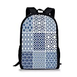 iPrint School Bags Arabian,Arabesque Islamic Motifs Geometric Lines Asian Ethnic Muslim Ottoman Element,Blue White Boys&Girls Mens Sport Daypack