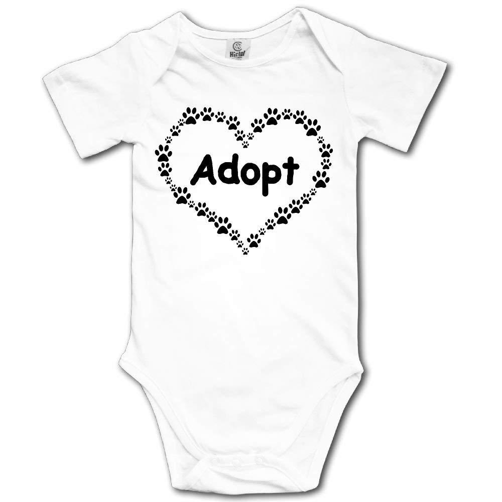 HFJFJSZ Dog Paw Heart Adopt Short Sleeve Baby Bodysuit Onesies