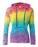 MV Sport Women's Courtney Burnout Hooded Pullover Blend Fleece (Rainbow Swirl) (Medium)