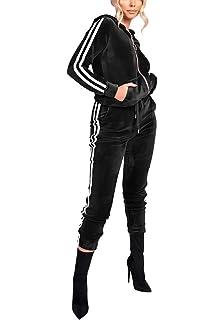 87999840 Women's Hoodie Sweatsuit Zip Up Jogging Long Sleeve+Long Pants Velour Striped  Tracksuit Set with