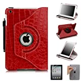 E LV Cover for iPad Mini 2 with Retina Display (7.9 inch Tablet) & iPad Mini (7.9 inch Tablet) 360 Degrees Rotating Stand Leather Smart Case Luxury Crocodile/Tribal Pattern with 1 Screen Protector, 1 Black Stylus and Microfiber Digital Cleaner (With Auto Wake/Sleep Smart Cover Function) (Red, iPad Mini 2 with Retina Display & iPad Mini)