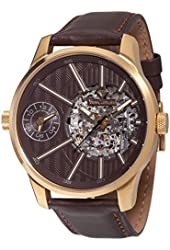 Yves Camani Taravo YC1054-A Mens Watch Automatic Analogue Stainless Steel Gold Plated Brown Leather Strap