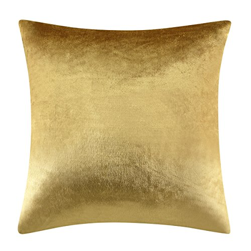 GIGIZAZA Gold Velvet Decorative Throw Pillow Cushion Covers Luxury Yellow 18 inch Pillow Cases for Sofa Bed (18x18inch(45x45cm), Gold)
