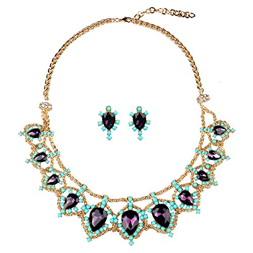 [SDLM Womens Awesome Bib Statement Jewelry Diamond-Cut Amethyst Collar Necklace & Stud Earrings Sets] (Iconic Women In History Costumes)