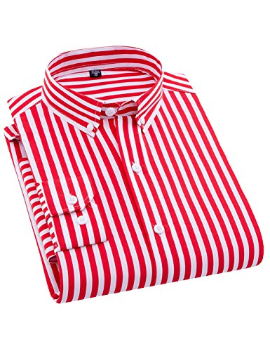 (ERZTIAY Men's Classic Casual Vertical Striped Slim Fit Long Sleeve Dress Shirts(Red, X-Large))