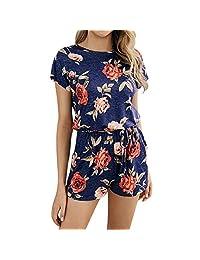 KOERIM Women Summer Floral Print Romper Short Sleeve Round Collar Loose Pockets Jumpsuit