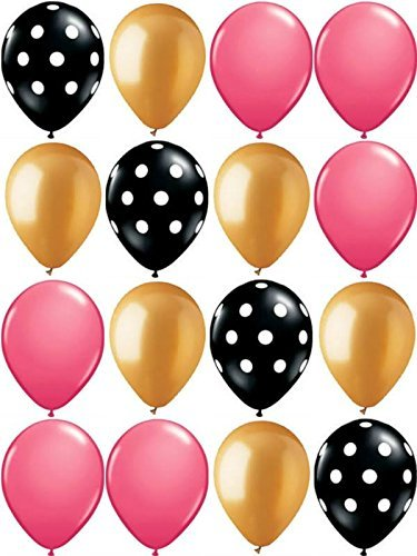 16ct Black & White Polka Dot w/ Gold & Wild Berry Pink 11