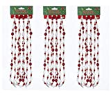 Home Décor Kurt Adler 9' Red White Silver Round Bead Christmas Garland Decor-Set of 3