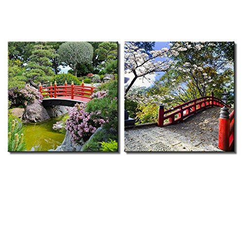 Two Piece Red Bridge Over a Lake Surrounded by Beautiful Trees on 2 Panels