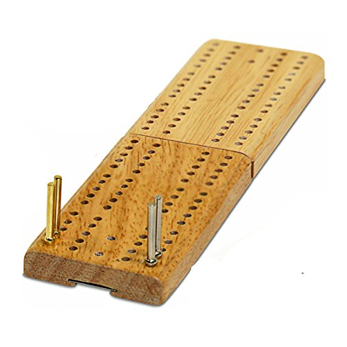 WE Games Mini Cribbage Set - Wood Folding 2 Track Board with Metal Pegs