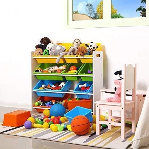 SONGMICS Scaffale per Giocattoli Mobiletto Multi-Ripiano per Bambini con 12 Scatole in Plastica Rimovibili Telaio Bianco GKR04W