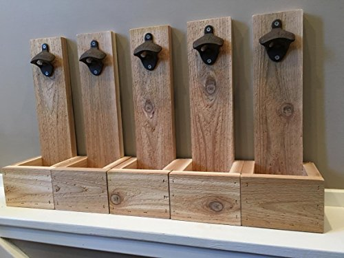 Wall Mounted Bottle Opener Cap Catcher - Groomsmen Gift, Reclaimed Wood, Best Man Gift, Husband Gift, Gift for Dad, Wedding Gift, Christmas Gift, Wall Mount, Beer Gift, House Warming Gift