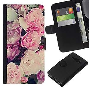WINCASE Cuadro Funda Voltear Cuero Ranura Tarjetas TPU Carcasas Protectora Cover Case Para Samsung Galaxy Core Prime - patrón de flores ramo de papel tapiz