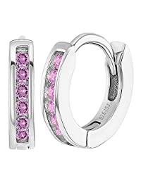 """925 Sterling Silver CZ Small Hoop Earrings for Girls Kids Toddlers Infants 0.39"""""""
