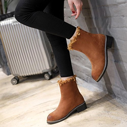 Dinglong Women's Flock Platform Ankle Boot Ladies Slip-On Outdoor Snow Boot Female Ski Flat Heel Casual Shoes Martin Boots Brown cTc0qKKW