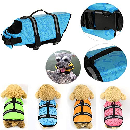 - oceaneshop Fashion Swimsuit Reflective Strip Harness Vest Swimming Preserver Dog Life Jacket Pet Safety Clothes Puppy Surf Saver Coat