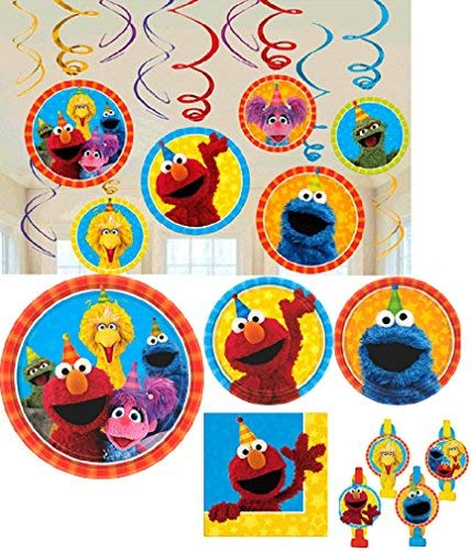 Amscan Sesame Street Birthday Party Pack! Bundle of Plates, Napkins, Blowouts, and Hanging Decorations -