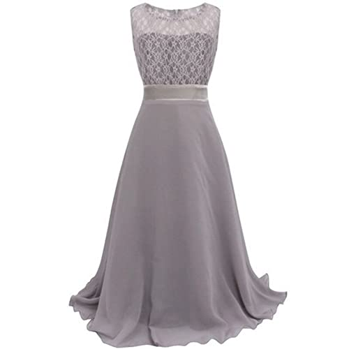 ESHOO Girls Lace Chiffon Wedding Birthday Party Bridesmaid Dress Dance Long Dress Size 4 to 18
