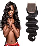 Dilys 4×4 Free Part Body Wave Brazilian Virgin Human Hair Lace Closure with Natural Black(14inch)