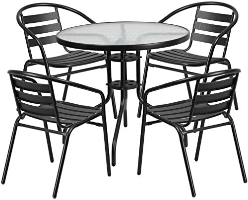 Flash Furniture 31.5 Round Glass Metal Table with 4 Black Metal Aluminum Slat Stack Chairs