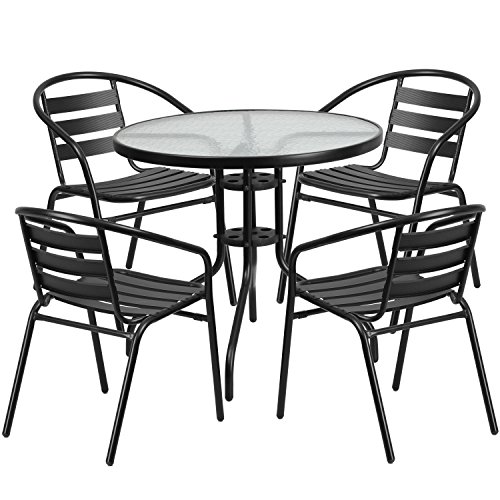 Flash Furniture 31.5'' Round Glass Metal Table with 4 Black Metal Aluminum Slat Stack Chairs (Round Patio Table Glass)