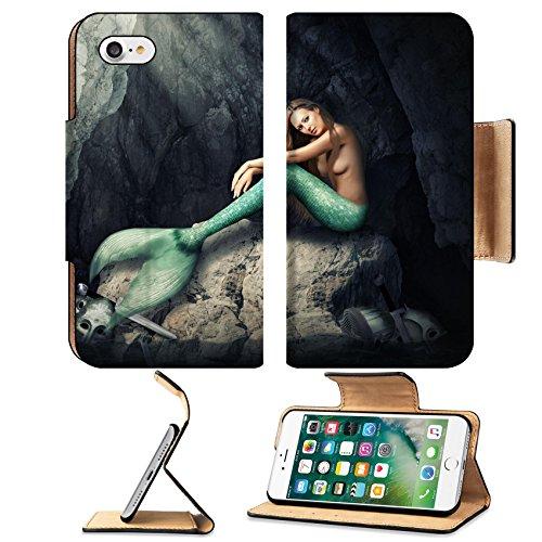 Luxlady Premium Apple iPhone 7 Flip Pu Leather Wallet Case IMAGE ID: 40818219 Beautiful woman mermaid sitting on stones in dark cave Helmets and skull broken swords in wate