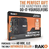 RAK Magnetic Wristband with Strong Magnets for Holding Screws, Nails, Drill Bits - Best Unique Christmas Gift for Men, DIY Handyman, Father/Dad, Husband, Boyfriend, Him, Women (Bla