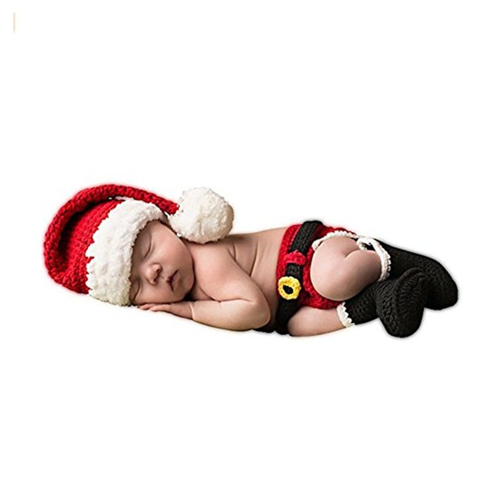 HAPPY ELEMENTS Bebé recién nacido de Navidad de Santa de punto de ganchillo fotografía de la foto Prop sombreros preciosos Trajes de disfraces