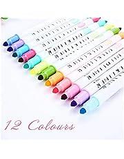 12 Pcs/Set Japanese High Lighter Pens Double Headed Fluorescent Pen Cute Art Highlighter Drawing Mark Pen