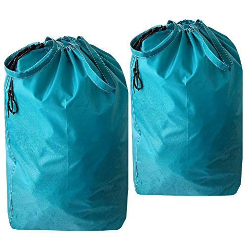 UniLiGis Tear Proof Nylon Laundry Bag with Handles,Hamper Liner with Drawstring Closure for Travel,Dirty Clothes Bag Fit Most Laundry Hamper and Sorter,27.5x34.5'' (Blue-Aqua 2 Pack)