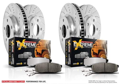 Power Stop K6537-36 Z36 Truck & Tow Front & Rear Kit Rotor and Carbon-Fiber Ceramic Brake Pads