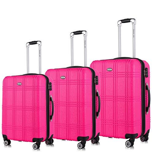 Expandable Spinner Luggage Set,TSA lightweight Hardside Luggage Sets, 20 2428 inches Carry On Luggage (Pink, 3 pcs set(202428))