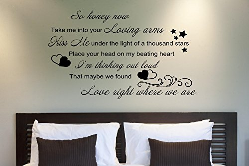 Ed sheeran thinking out loud song lyrics wall art sticker quote 16 colours sl8 large 80 x 50 cm amazon co uk kitchen home