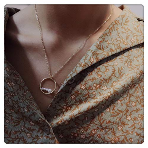 SEUSUK Gold Necklace Pendant Dainty 14K Gold Fill Peas in A Pod Mini 4 Pearls Winding Circle Eternity Best Friend Friendship Great Grandma Delicate Handmade Initial Simple Gold Jewelry for Women