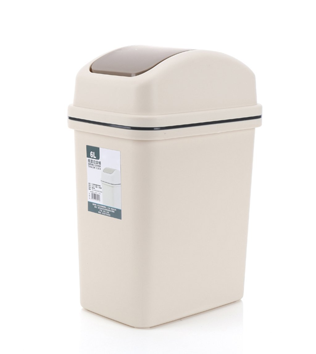 CSQ Shake Cover Trash Can, Stylish Creative Household Bathroom Trash Can Rectangle Living Room Bedroom Bathroom Hotel Trash Can 6-10L (Color : B, Size : 6L)