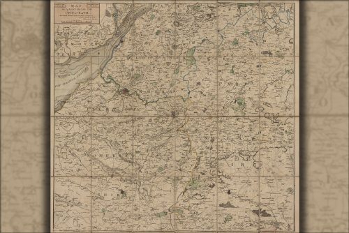 24x36 Poster; Map Of 24 Miles Round Bath England 1820; Antiq