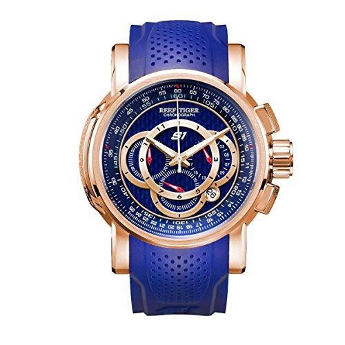 (Reef Tiger Chronograph Sport Watches Blue Dial Rubber Strap Quartz Movement RGA3063)