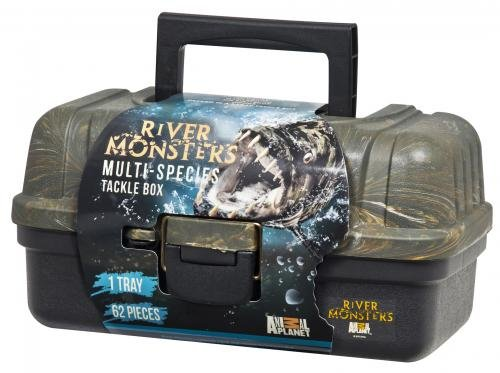 River Monsters 1 Tray Tackle Box with 62 Piece Basic Tackle, Outdoor Stuffs