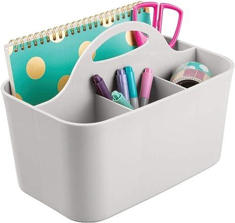 mDesign Organizador de escritorio – Caja organizadora para material de oficina con 2 cajones y 2 compartimentos laterales – Práctico organizador de material de escritorio – Gris claro: Amazon.es: Hogar