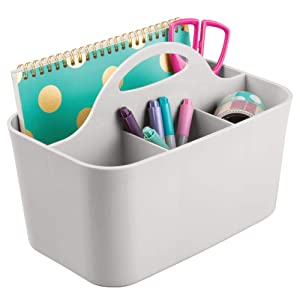 mDesign Small Office Storage Organizer Utility Tote Caddy Holder with Handle for Cabinets, Desks, Workspaces - Holds Desktop Office Supplies, Gel Pens, Pencils, Markers, Staplers - Light Gray