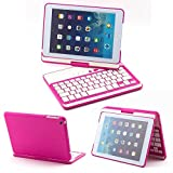 DUMVOIN Apple iPad Mini 360 Degree Rotating Bluetooth Wireless Keyboard ClamShell Nubuck Case Cover for Apple 7.9 Inch New iPad Mini 2 Retin & iPad Mini Tablet PC -Multi-Adjustable Angles Color Rose