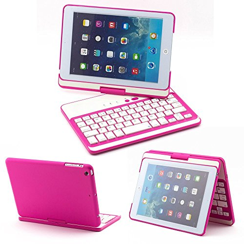 DUMVOIN Apple iPad Mini 360 Degree Rotating Bluetooth Wireless Keyboard ClamShell Nubuck Case Cover for Apple 7.9 Inch New iPad Mini 2 Retin & iPad Mini Tablet PC -Multi-Adjustable Angles Color Rose by DUMVOIN