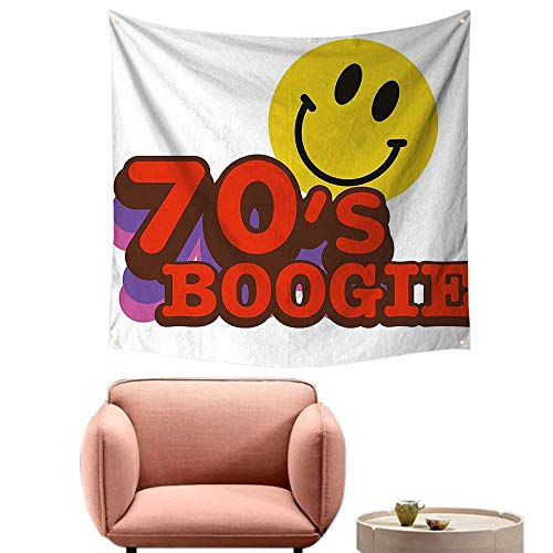 (alsohome Bohemian Tapestry Psychedelic Wall Art for Bedroom 70S Boogie Funny Smiling Emoticon Humorous Amusing Vibrant Yellow Red Purple)