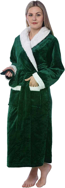 Women S Plus Size Plush Soft Warm Fleece Long Bathrobe Robe At Amazon Women S Clothing Store