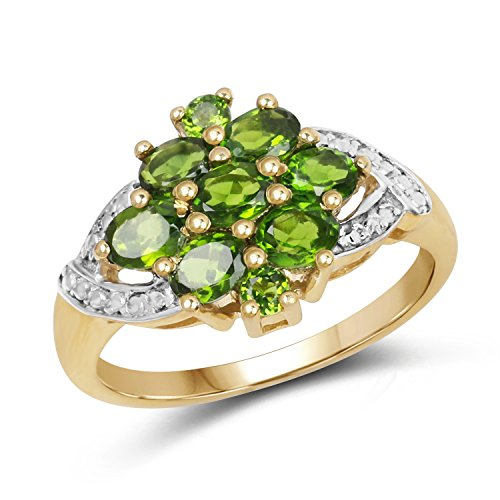 14k Diopside Ring - Johareez 14K Yellow Gold Plated Chrome Diopside Cluster Ring in Sterling Silver