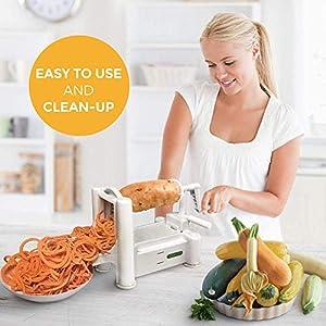 Spiralizer 7-Blade Vegetable Slicer, Strongest-and-Heaviest Spiral Slicer, Best Veggie Pasta Spaghetti Maker for Keto…