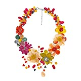 AeraVida Colorful Blossoms Floral Garland Mix Stones Collar Necklace Handmade in Thailand