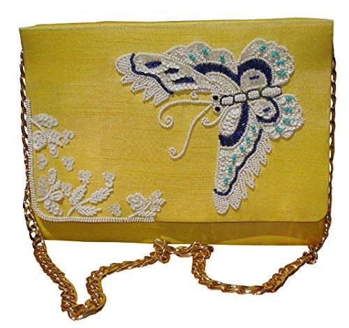 Pochette en soie brodée avec perles jaunes pour motif papillon des femmes