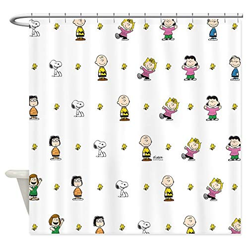CafePress Peanuts Gang Collage White Decorative Fabric Shower Curtain (69